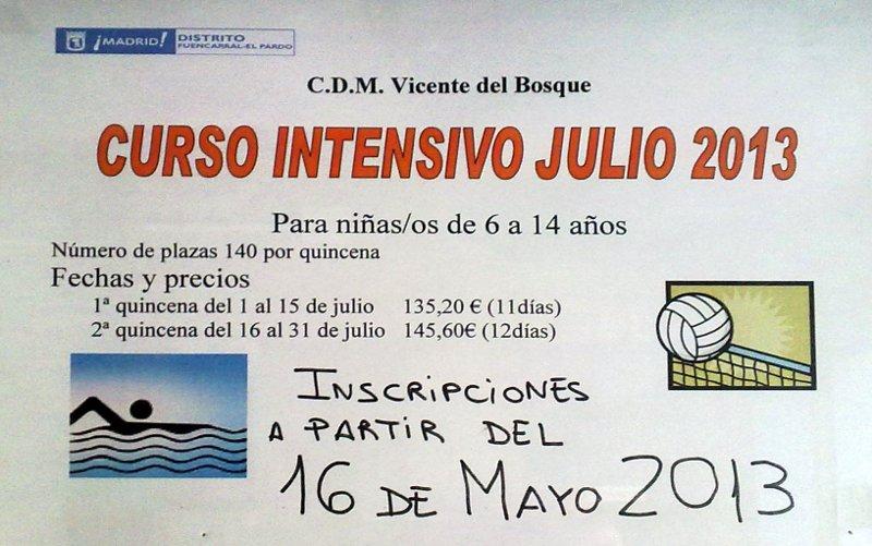 Noticias especial verano 2013 en el polideportivo vicente for Piscina vicente del bosque