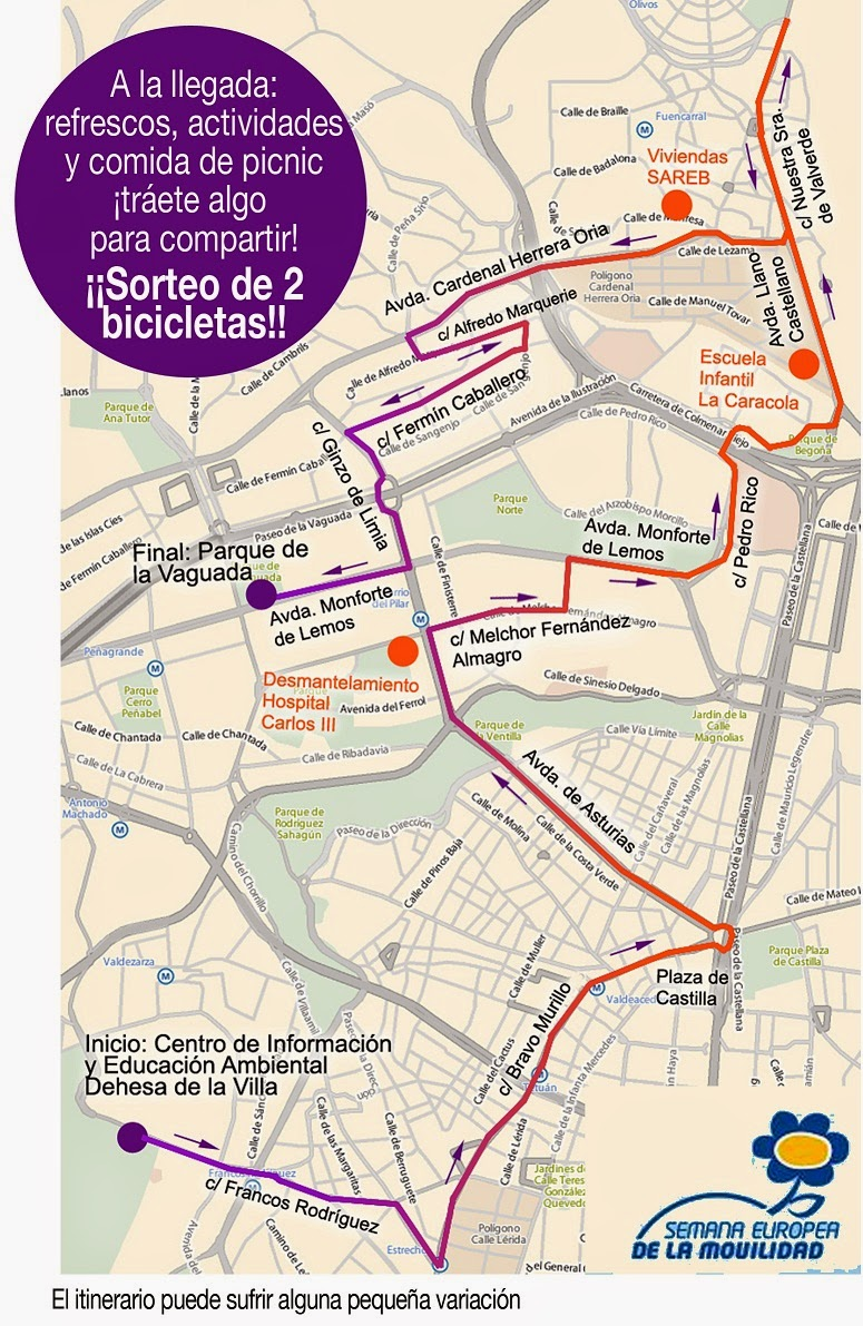 Itinerario VIII Marcha en Bicicleta de la Semana de la Movilidad