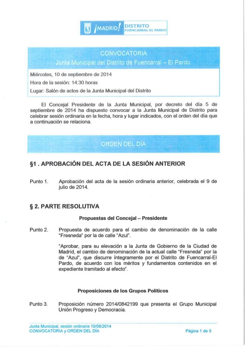 Orden del día Pleno del distrito de Fuencarral-El Pardo septiembre 2014