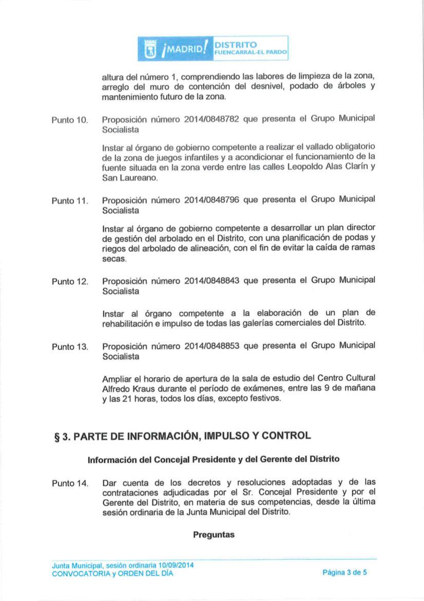 Orden del Día Pleno del distrito Fuencarral-El Pardo septiembre 2014