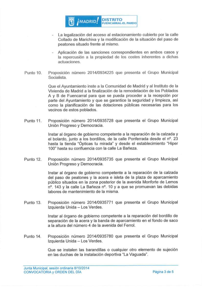 Pleno distrito Fuencarral-El Pardo octubre 2014