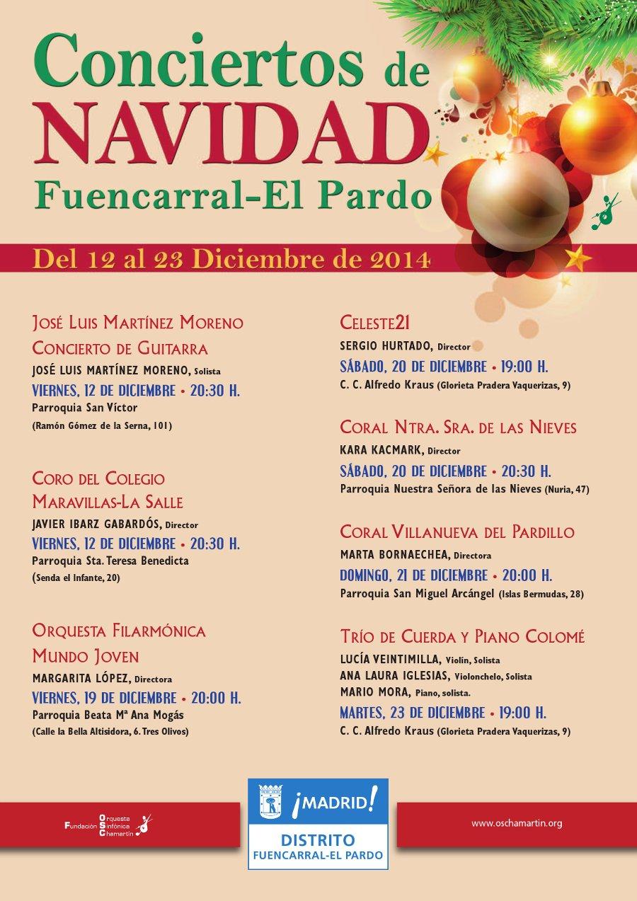 Programación de conciertos de Navidad del Distrito de Fuencarral-El Pardo 2014