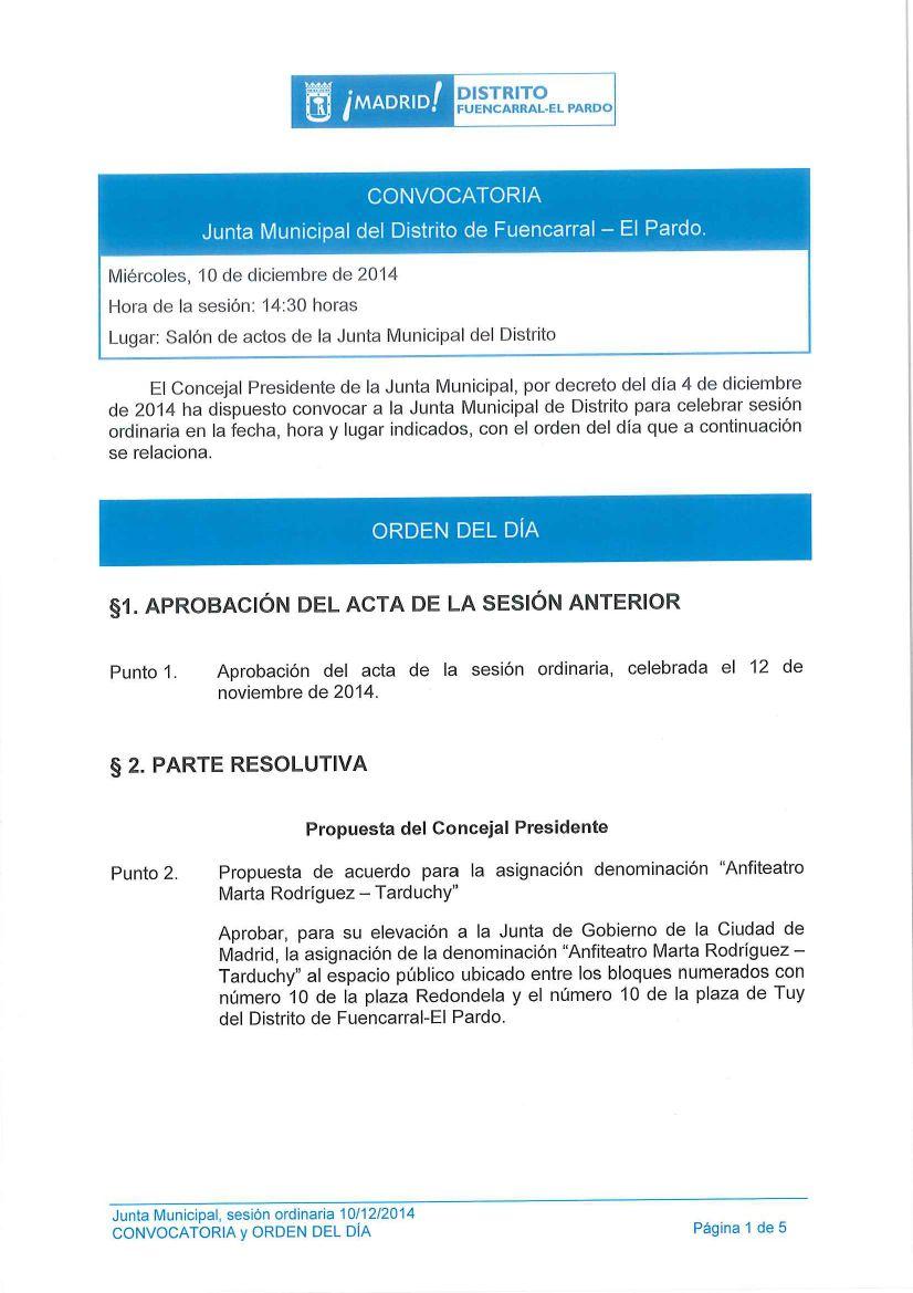 Pleno del Distrito Fuencarral-El Pardo Diciembre 2014
