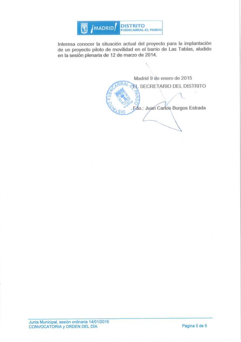 Orden del Día Pleno del Distrito de Fuencarral-El Pardo Enero 2015