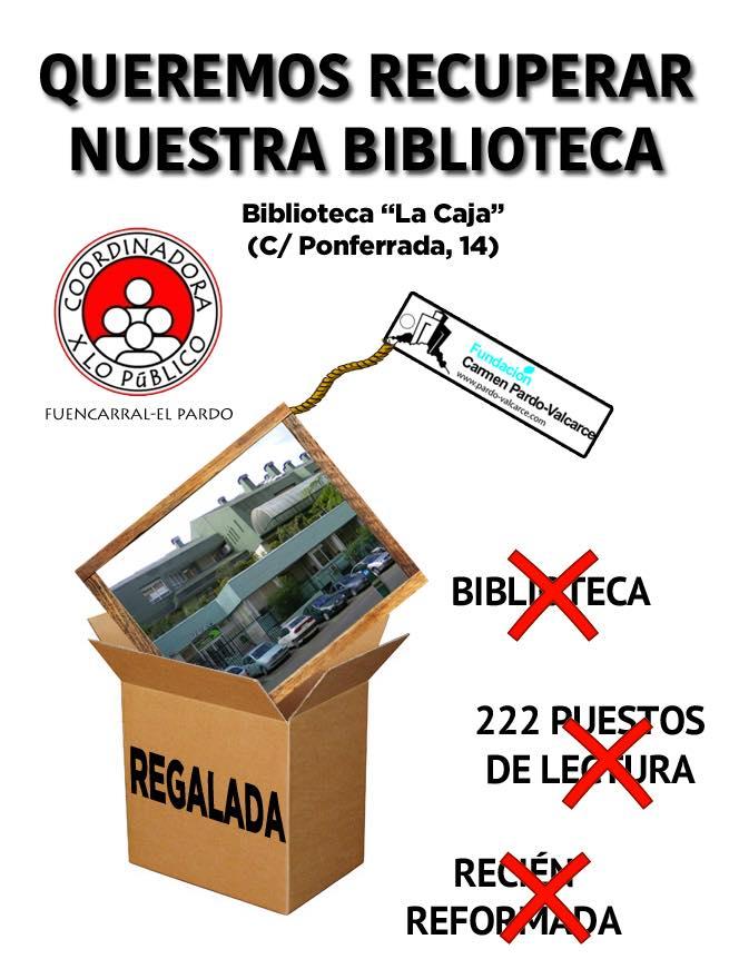 Campaña para recuperar la biblioteca Caja Madrid del Barrio del Pilar