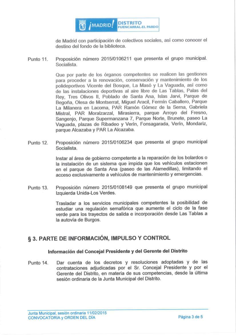 Pleno de Fuencarral-El Pardo febrero 2015