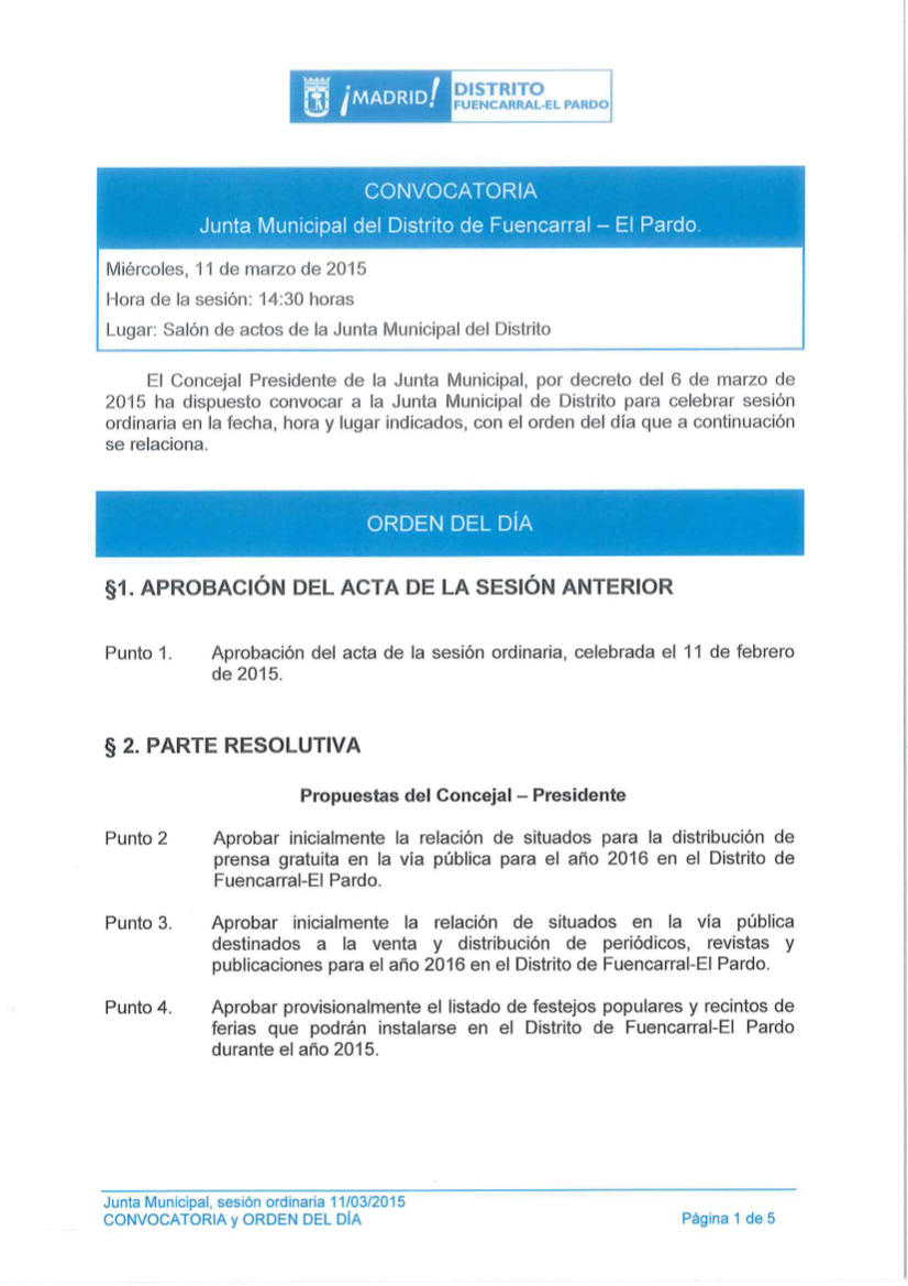 Pleno del Distrito de Fuencarral-El Pardo Marzo 2015
