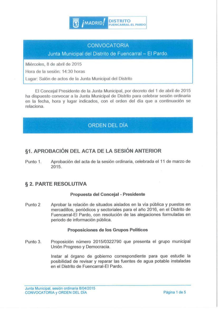 Pleno del Distrito de Fuencarral-El Pardo del 8 de abril de 2015