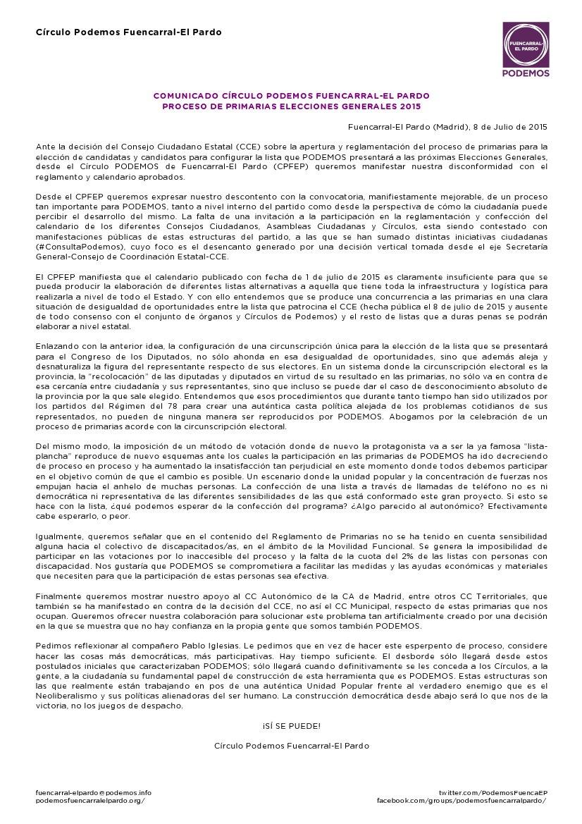 Comunicado de Podemos Fuencarral-El Pardo sobre primarias a las elecciones generales