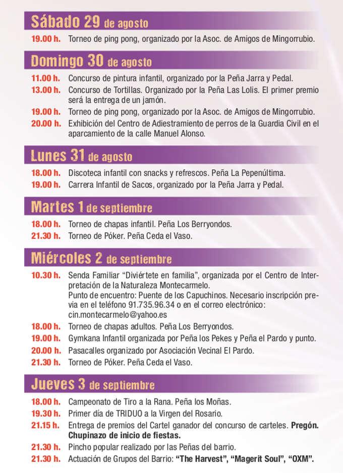 Programación de las Fiestas de El Pardo 2015