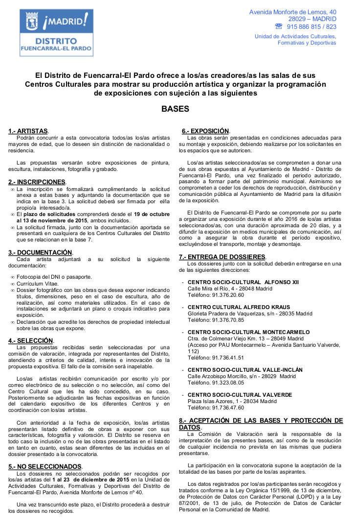 Bases para la petición de espacios expositivos de Fuencarral-El Pardo