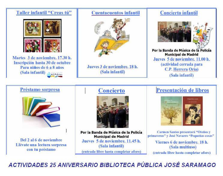 Actividades 25º aniversario biblioteca José Saramago - La Vaguada
