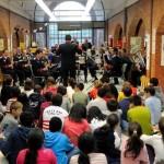 Actuación de la banda de la Policía Municipal de Madrid en la biblioteca La Vaguada