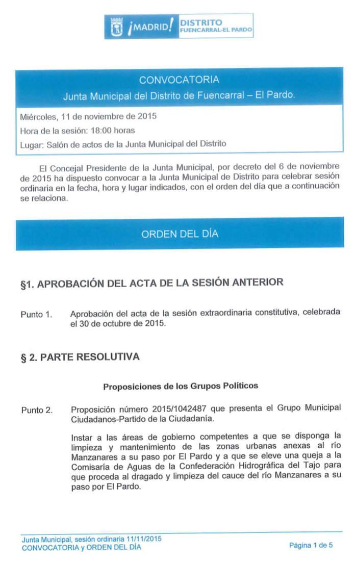 Pleno Fuencarral-El Pardo Noviembre 2015