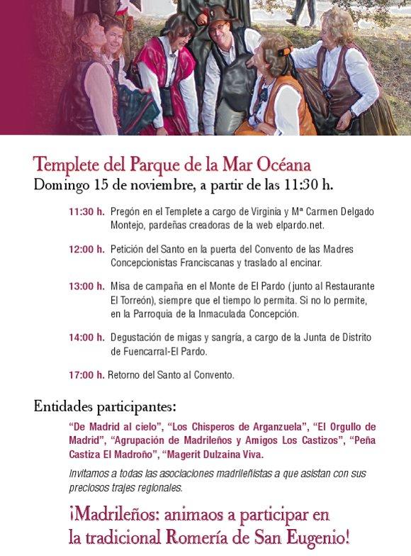 Programación de la Romería de San Eugenio 2015 en el Pardo