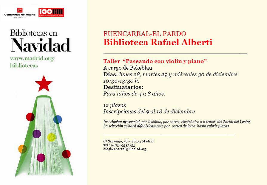 Taller de Navidad 2015 en la biblioteca Rafael Alberti