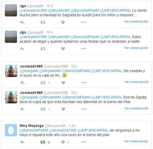 Quejas en Twitter Navidad 2015 en el Barrio del Pilar