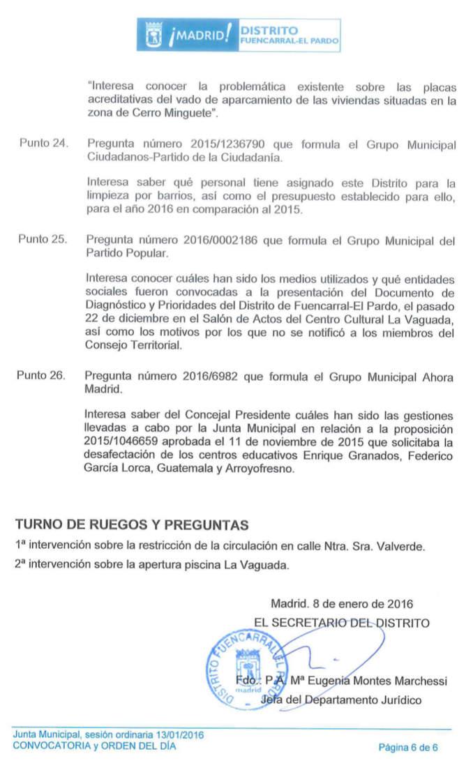 Pleno de Fuencarral-El Pardo Enero 2016