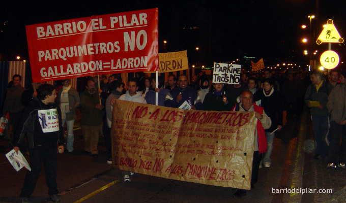 2 de marzo de 2006. Manifestación contra los parquímetros en el Barrio del Pilar