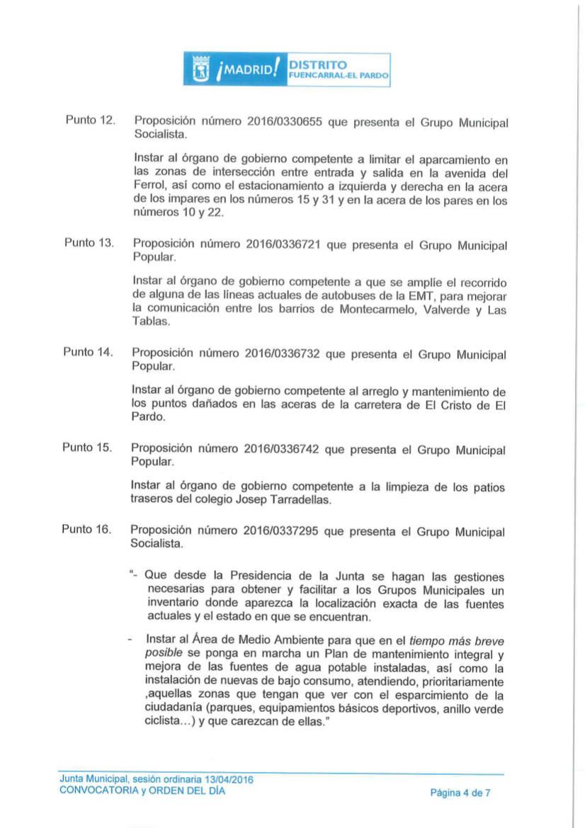 Pleno Fuencarral-El Pardo Abril 2016