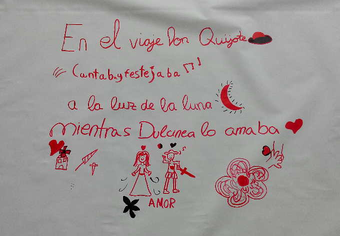 Fragmento del Poema Gigante Cervantino de la Biblioteca Pública José Saramago