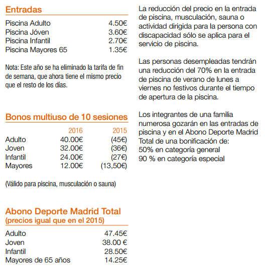 Precio entrada piscinas Madrid 2016