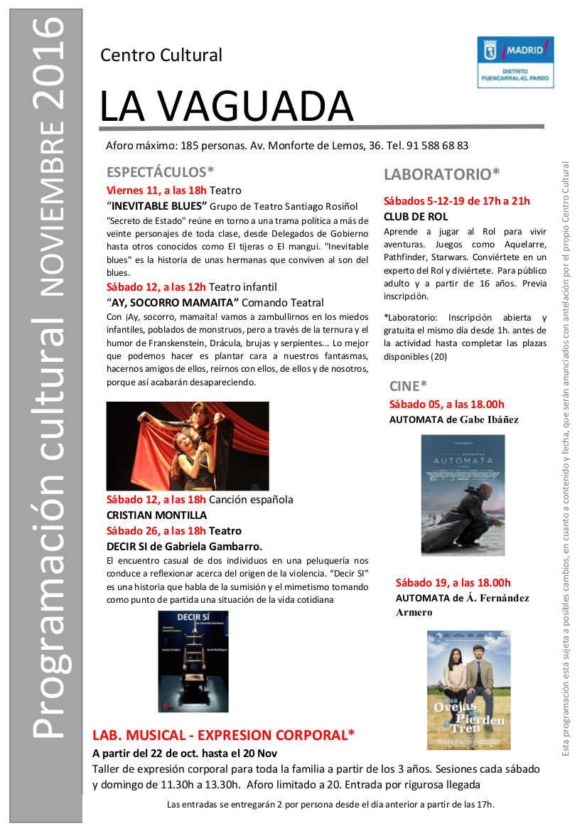 Programación Noviembre 2016 Centro Cultural La Vaguada