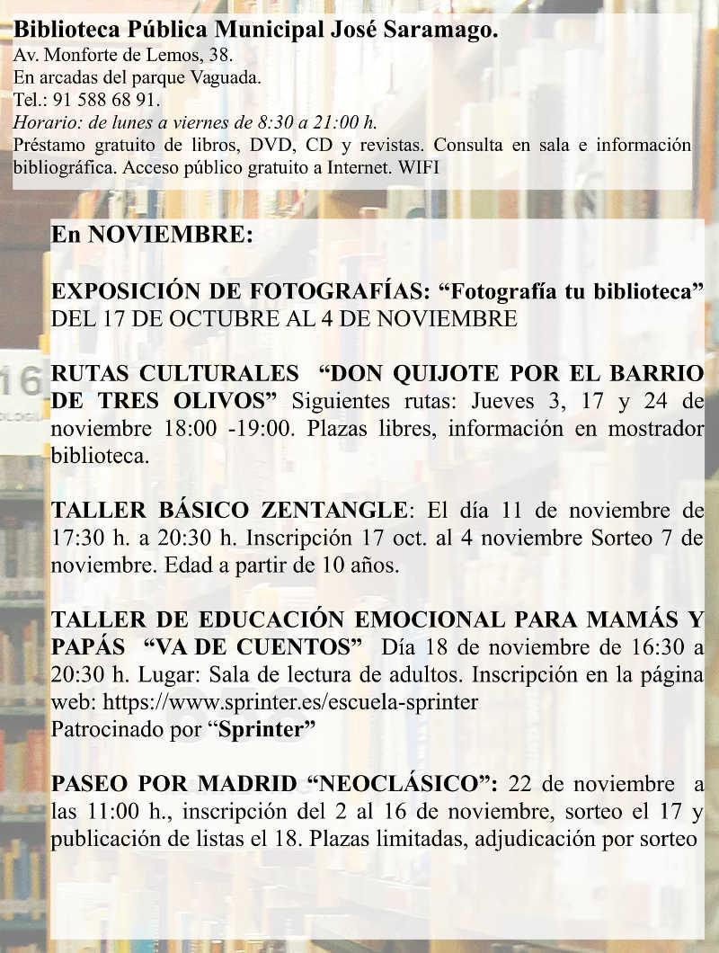 Actividades Noviembre 2016 Biblioteca José Saramago