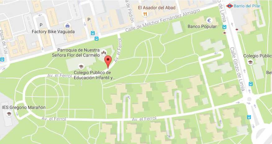 Plano 1ª Carrera Autos Locos Barrio del Pilar