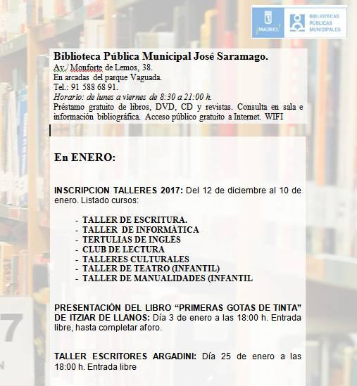 Talleres 2017 Biblioteca José Saramago - La Vaguada
