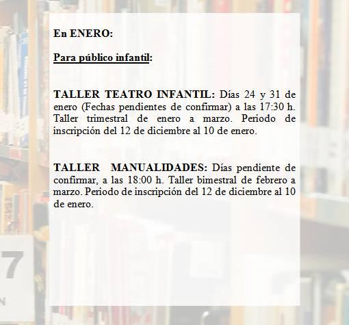 Actividades Público Infantil Enero 2017 Biblitoeca José Saramago - La Vaguada