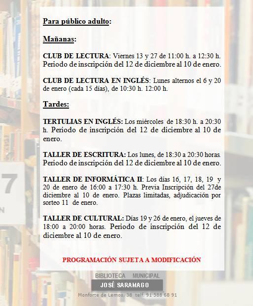Actividades Adultos Enero 2017 Biblioteca José Saramago - La Vaguada