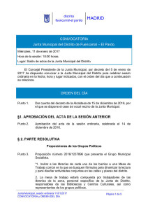 Orden del Día Pleno del Distrito Fuencarral-El Pardo Enero 2017
