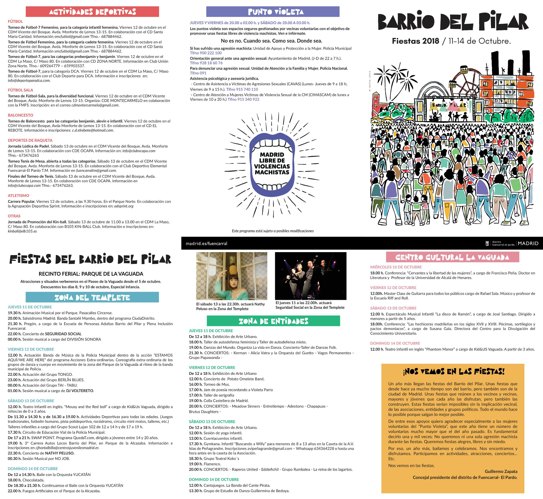 Programa Fiestas Barrio del Pilar 2018 (barriodelpilar.com)
